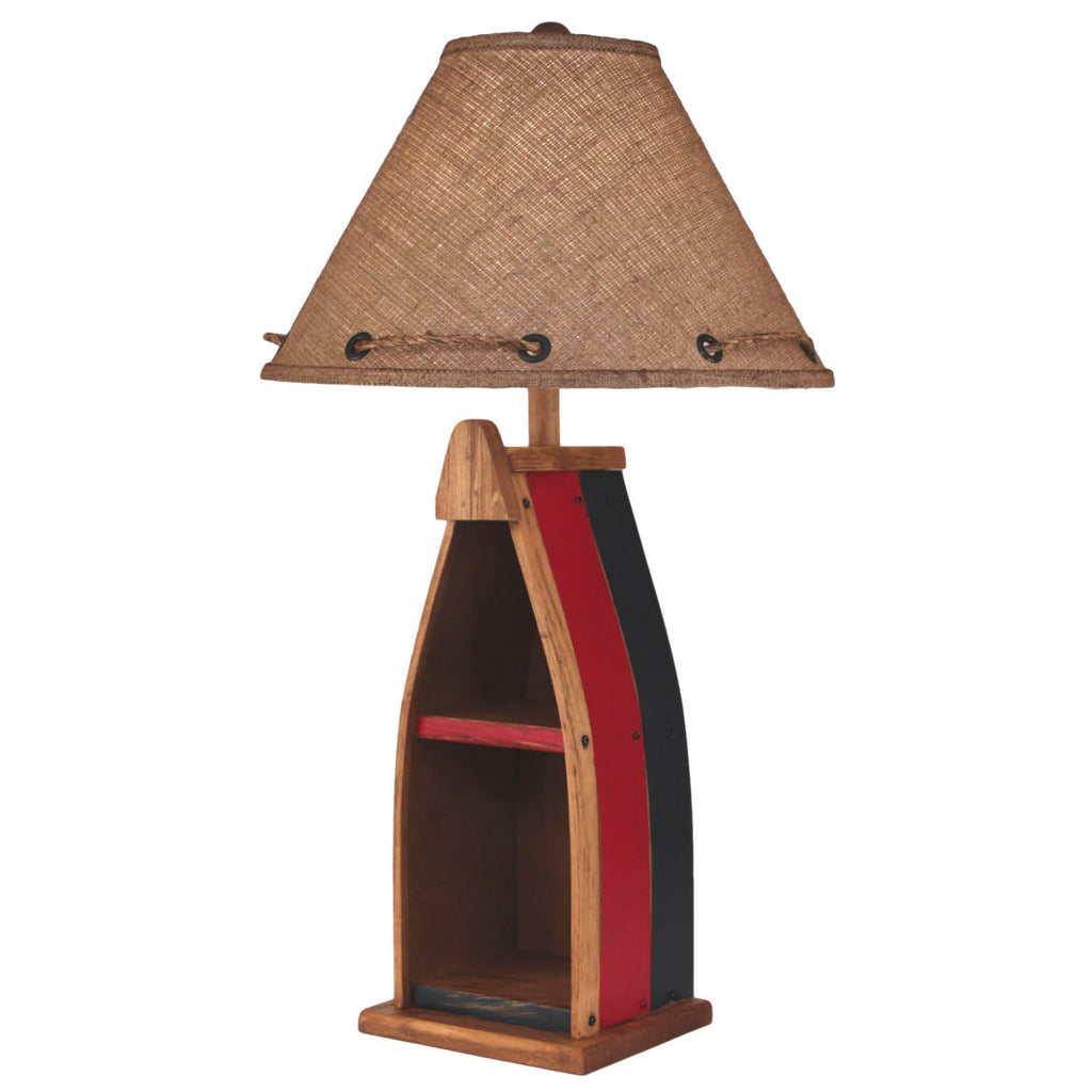 Red & Black Wood Boat Table Lamp