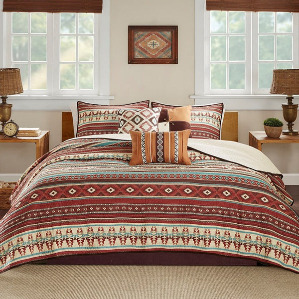 Taos Quilted Coverlet Set - Spice Front