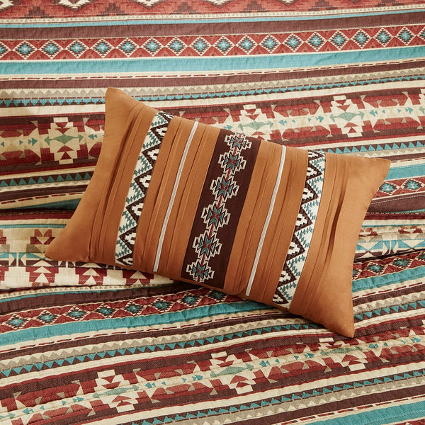 Taos Quilted Coverlet Set - Spice Pillows