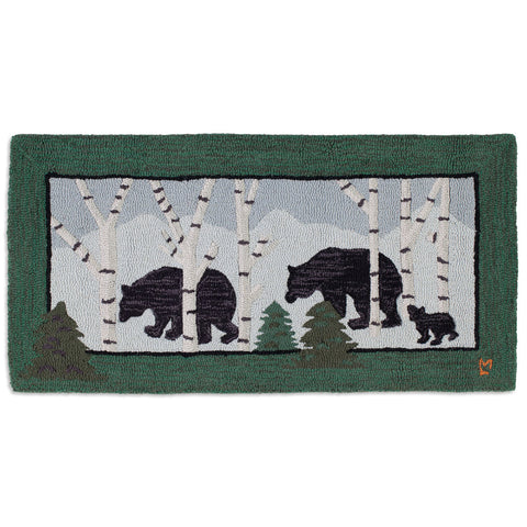 Birch Bears Hooked Wool Rug 2' x 4'
