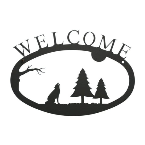 Wrought Iron Timber Wolf Welcome Sign