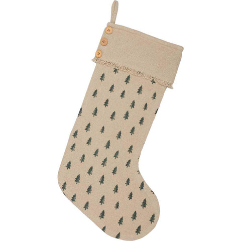 Vintage Burlap Tree Christmas Stocking Front