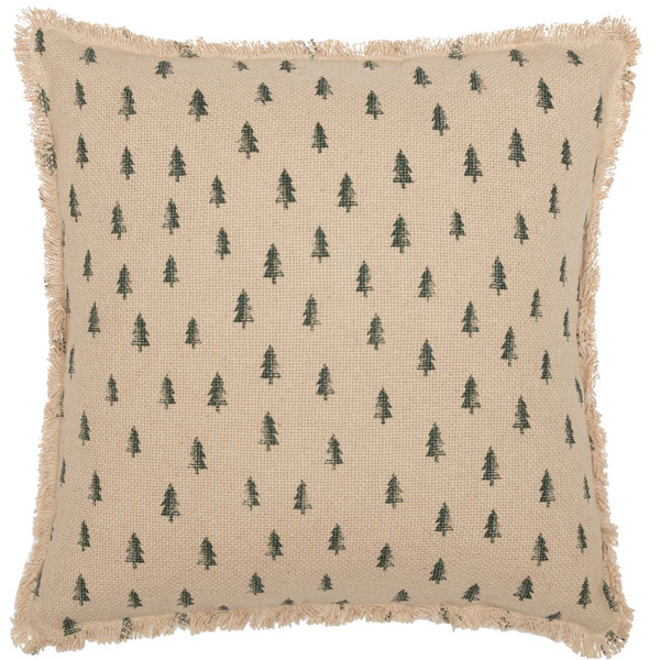 "Vintage Burlap Tree Pillow 18"" Front"