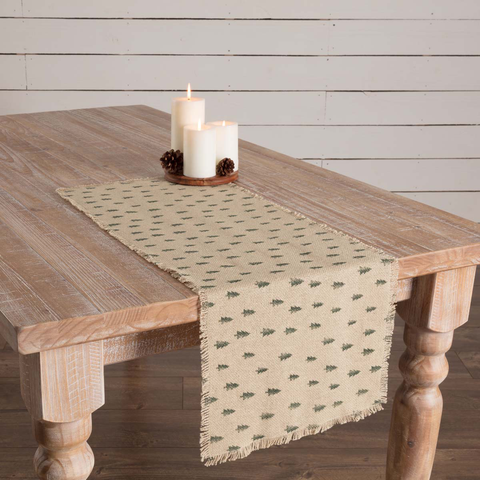 Vintage Burlap Tree Table Runner 13 x 36