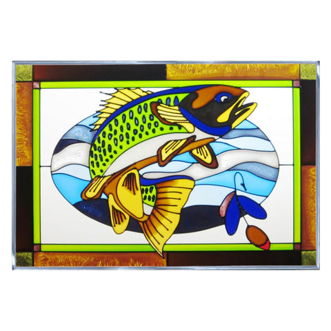 Walleye Stained Glass Panel