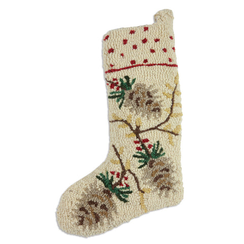 White Pinecone Christmas Stocking