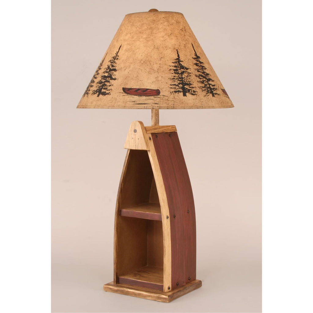 Red Wood Boat Table Lamp