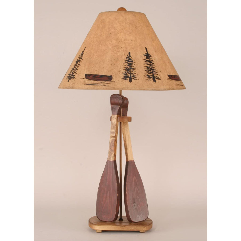 Wood Two Paddle Table Lamp