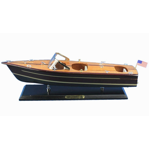 "Wooden Chris Craft Triple Cockpit Speedboat Replica Model 20""L"