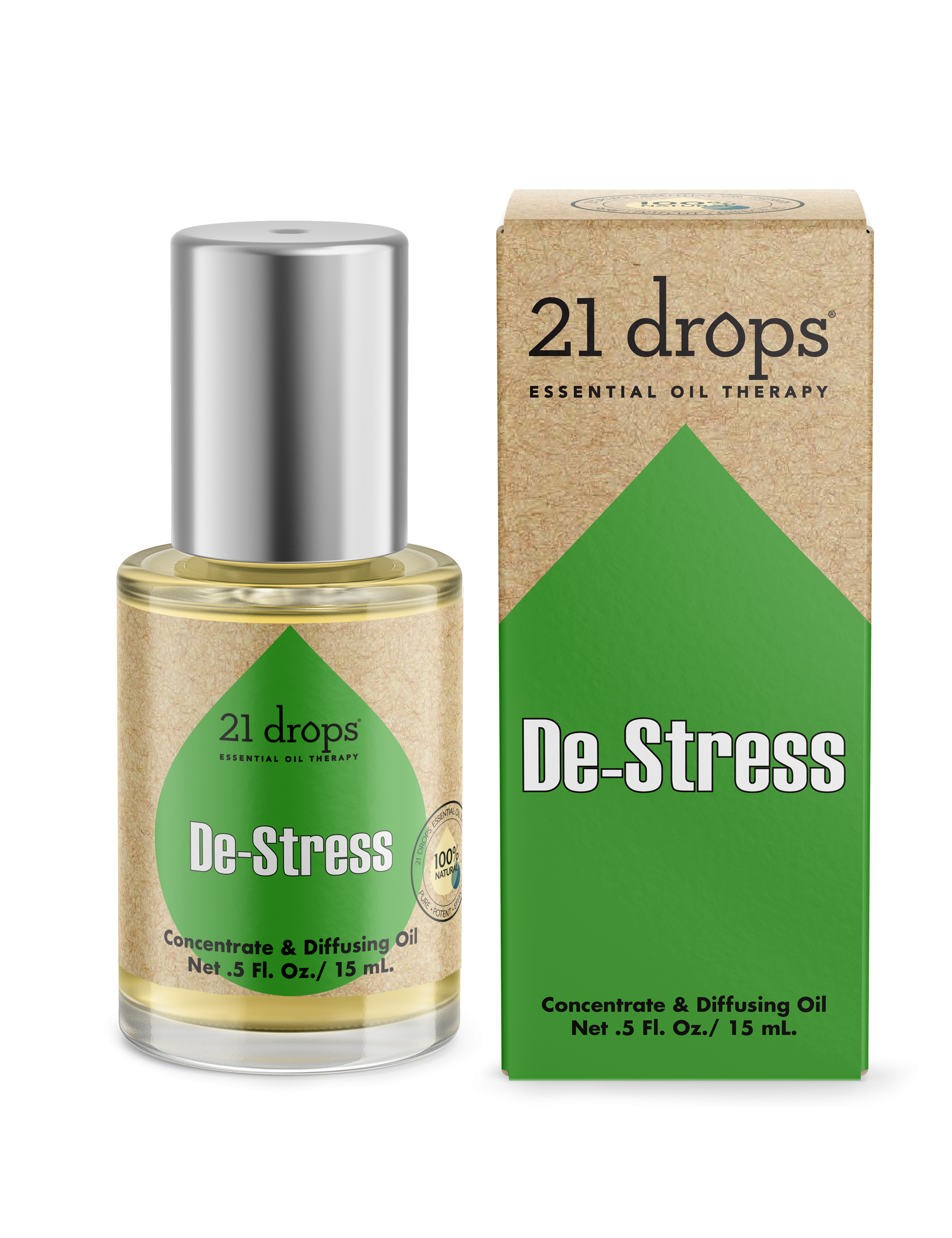 21 drops De-Stress essential oil aromatherapy concentrate and diffusing oil