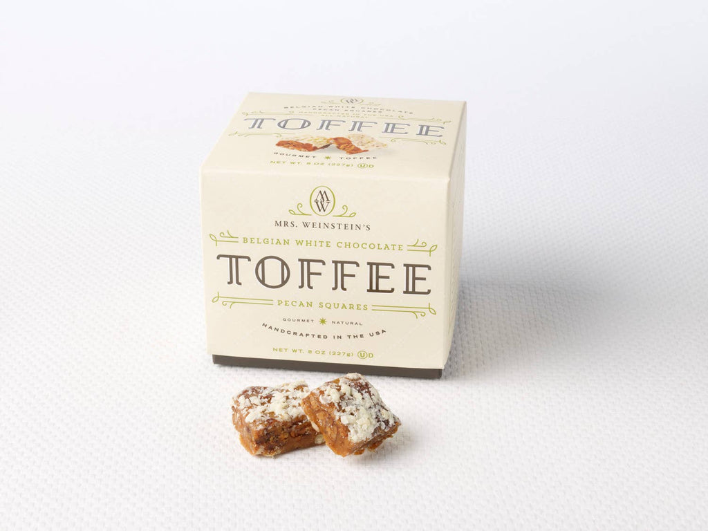 Mrs. Weinstein's Toffee - 8 oz Belgian White Chocolate Pecan Toffee Squares