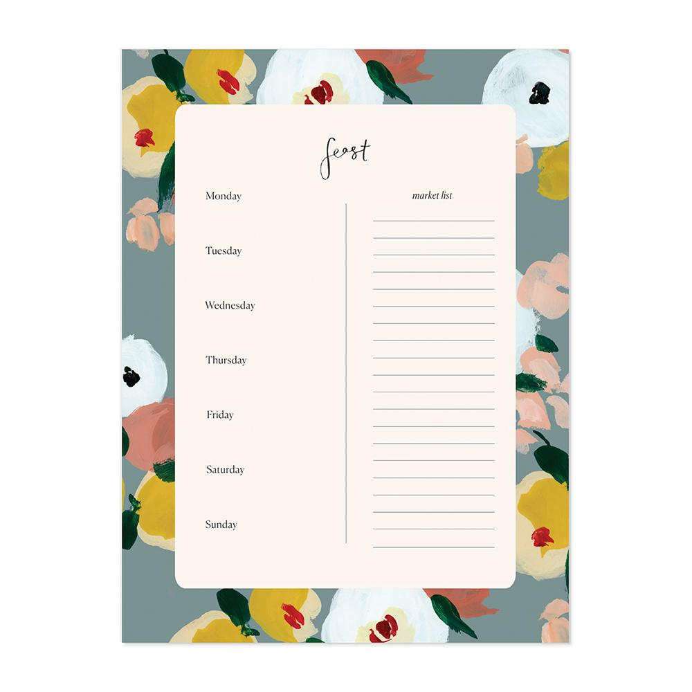 notepad weekly meal planner grocery list blissfully broke
