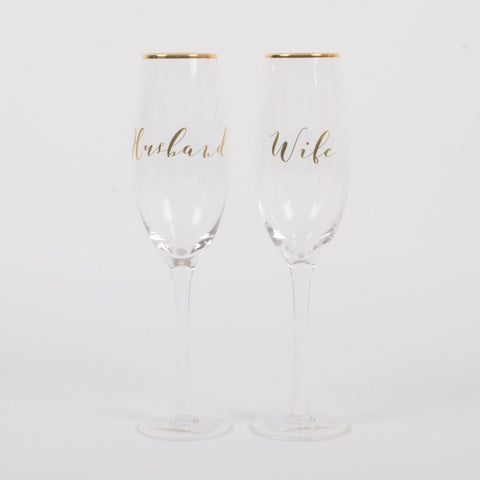Husband and Wife Champagne Flutes (sold in pair)