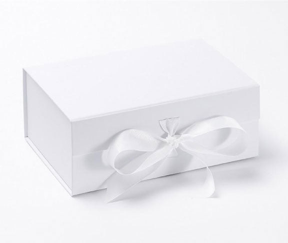 White Magnetic Gift Boxes with fixed ribbon closure