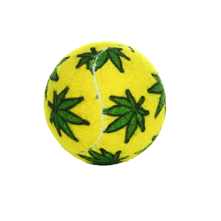 Silly Squeaker Weed Leaf Tennis Ball