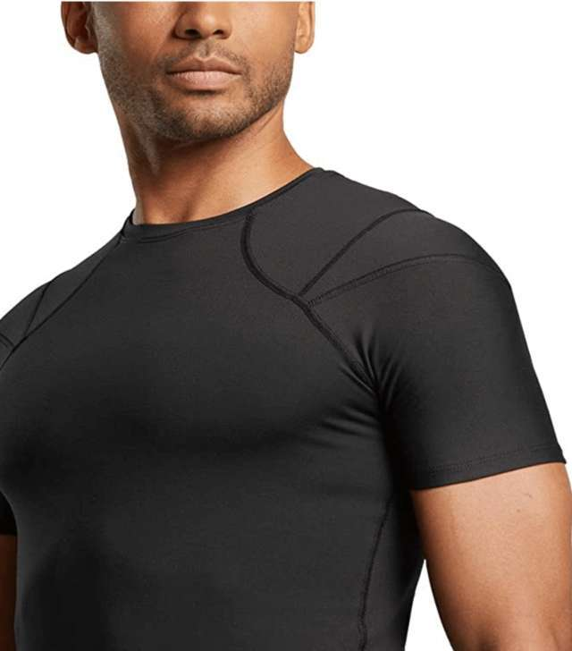upper half torso body of a man wearing black fitted shirt