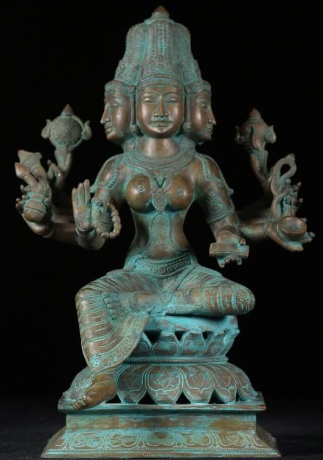 An example of a copper statue that has developed verdigris.