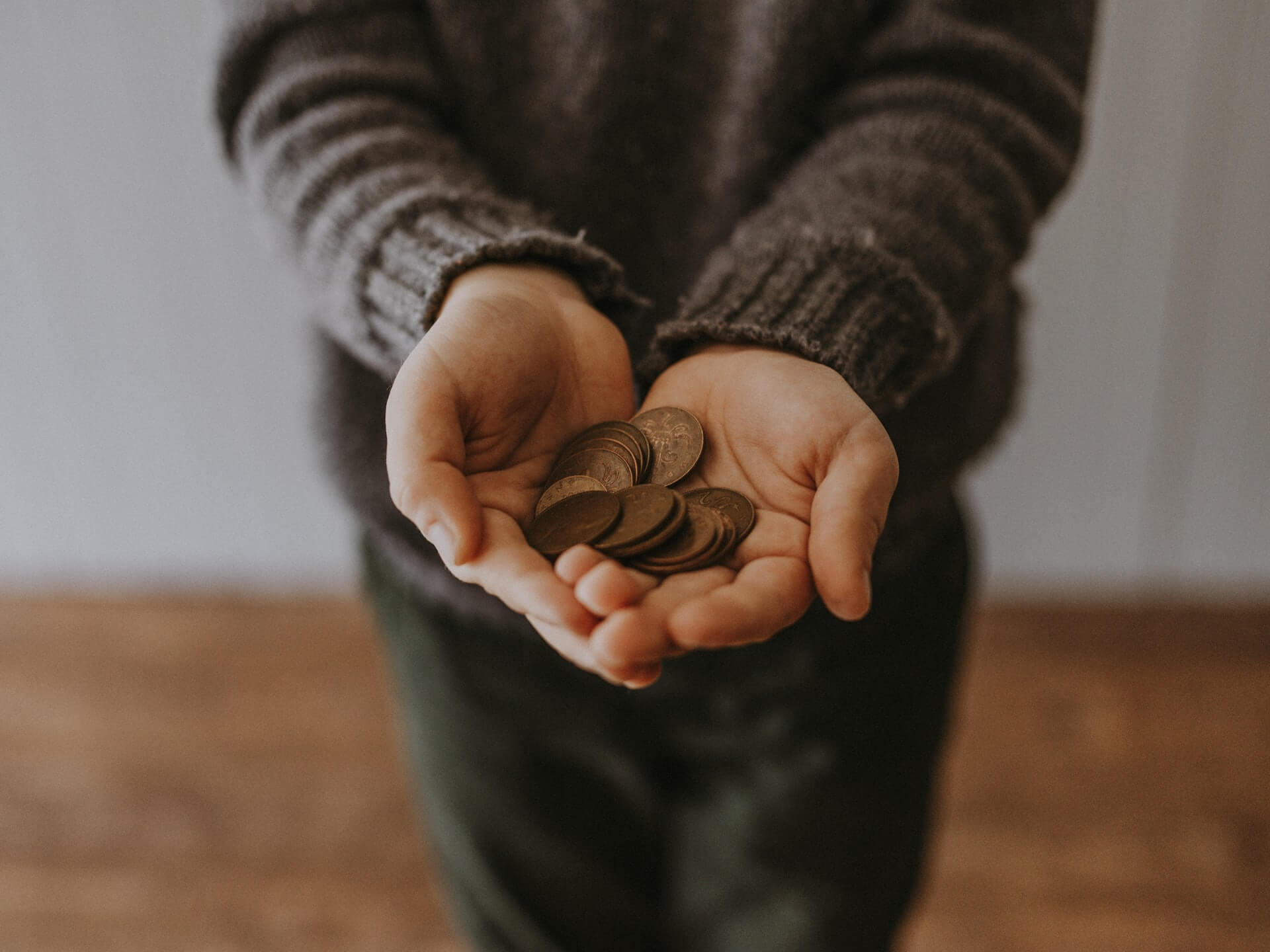 person wearing gray sweater holding copper coins in her hands