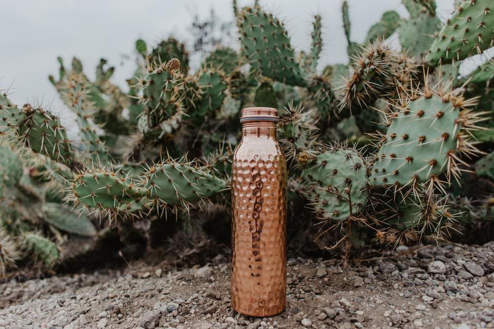 Copper H2O hammered copper water bottle placed on stony ground cactus background