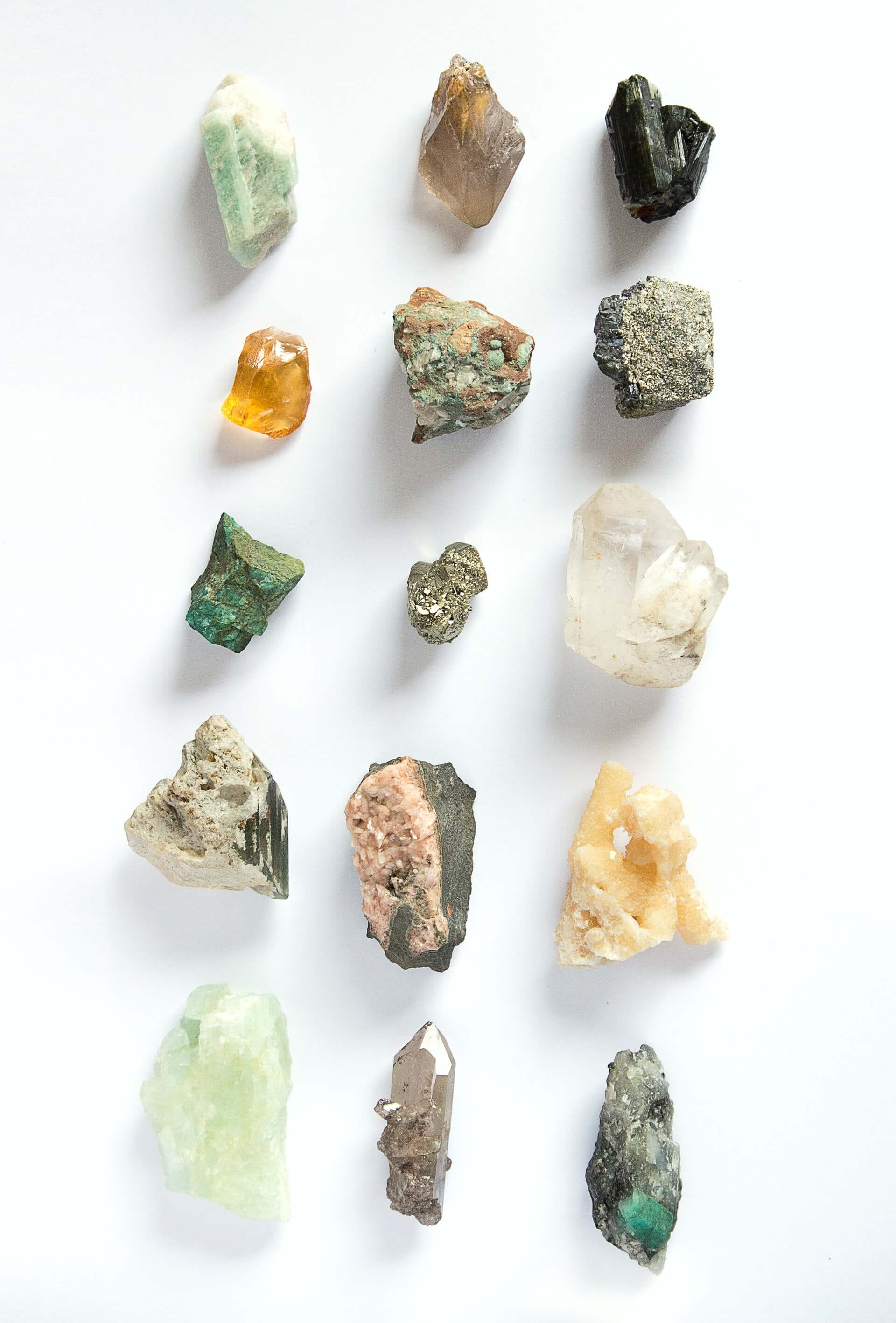 different types of raw and unpolished precious stones and rocks