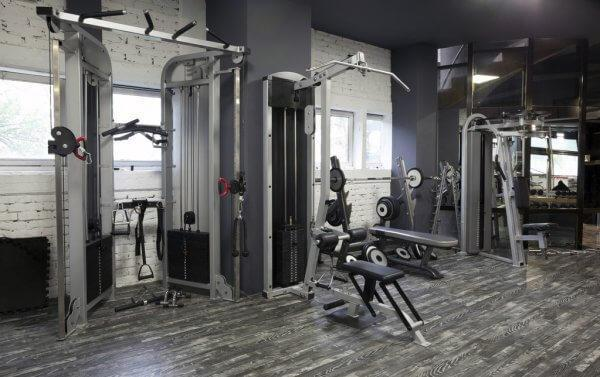 gym workout area different types of weights equipment