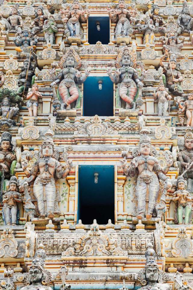 Hindu temple many different statues of gods levels
