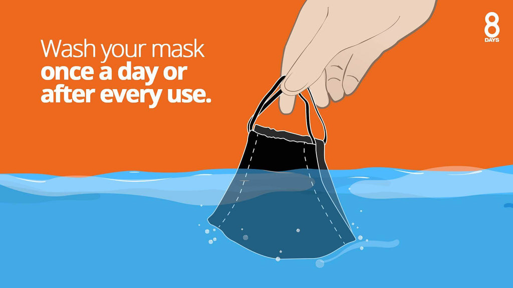 digital illustration of reminder wash your mask everyday or every after use
