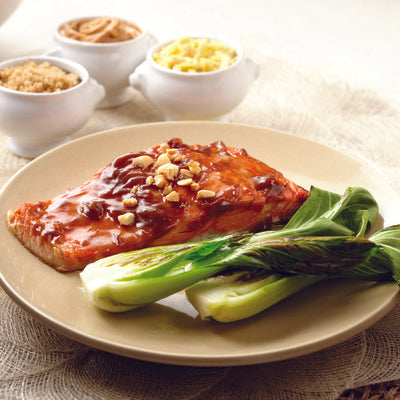 sockeye salmon with peanut sauce
