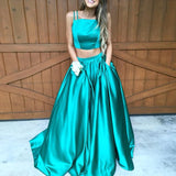 Elegant A-Line Two Piece Spaghetti Straps Pocket Ruched Prom Dress - Solodresses