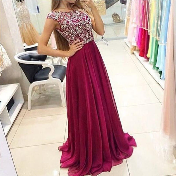 Luxurious Fuchsia A-Line Scoop Short Sleeves Long Prom Dress with Beading - Solodresses