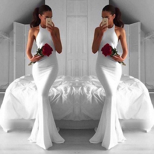 Modern White Mermaid Long Prom Dress - Halter Sleeveless Ruched - Solodresses