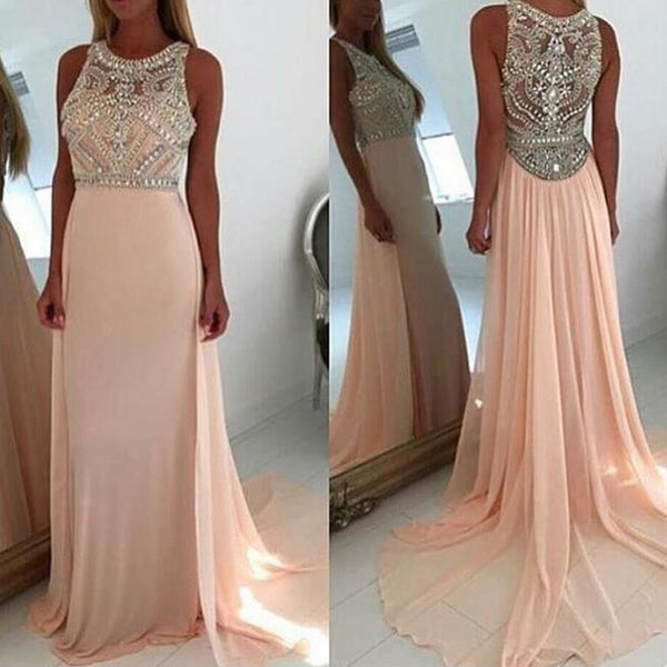 Chic A-Line Jewel Sleeveless Court Train Long Prom Dress with Beading - Solodresses