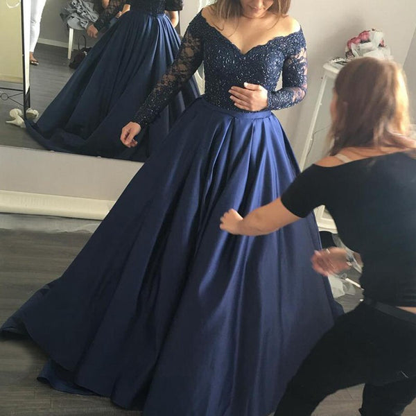Stylish Dark Blue Prom Dress - Off Shoulder Sweep Train Long Sleeves with Beading - Solodresses