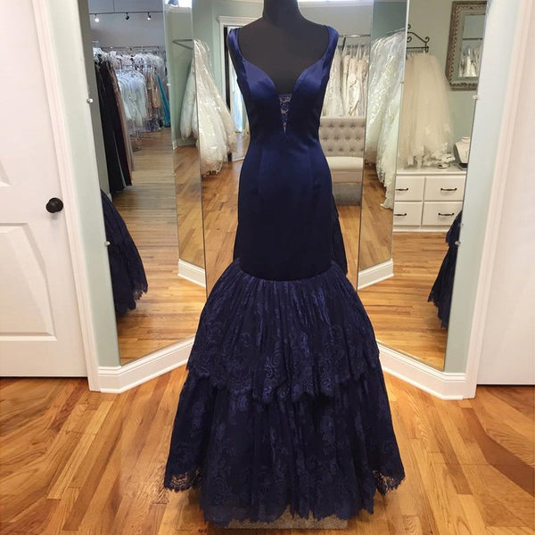 Fabulous Mermaid Navy Blue Prom Dress - V-neck Floor-Length Sleeveless with Tiered Lace - Solodresses