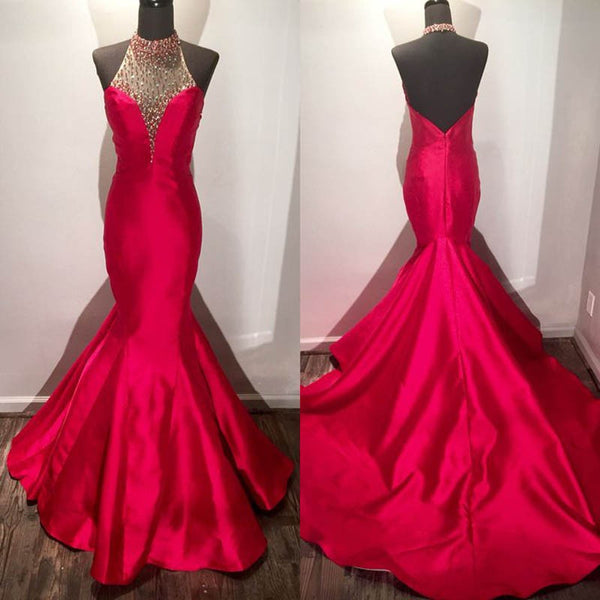 Stylish Red Mermaid Prom Dress - Halter Sleeveless Sweep Train with Beading - Solodresses