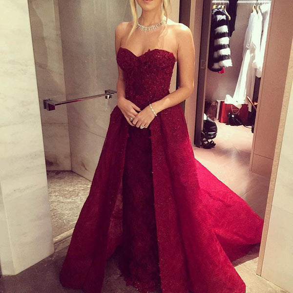Charming Wine Red Lace Prom Dress - Sweetheart Sleeveless Beading with Detachable Train - Solodresses