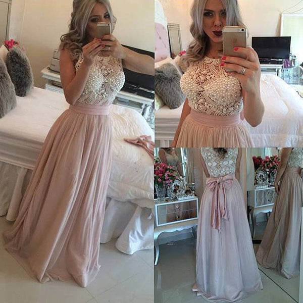 Glamorous Pearl Pink Prom Dress - Jewel Sleeveless Floor-Length with Pearls Bowknot - Solodresses