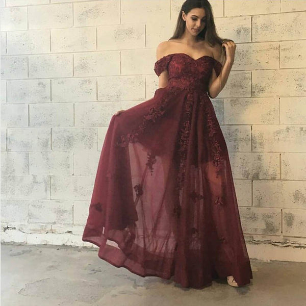 Stylish Burgundy Prom Dress - Off-the-Shoulder Floor-Length with Lace Appliques - Solodresses