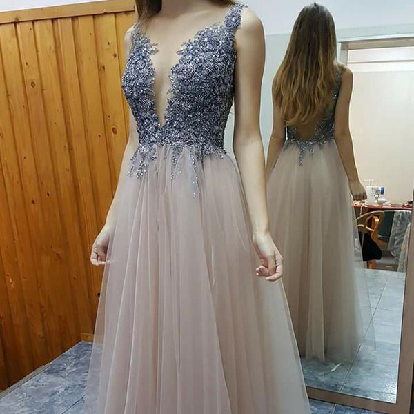 Stylish A-line Prom Dress - Deep V-neck Floor-Length Beading Backless - Solodresses