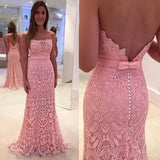 Chic Sheath Pink Prom Dress - Strapless Sweep Train Lace with Sash - Solodresses