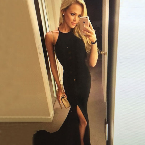 Sexy Black Prom Dress - Mermaid Halter Sweep Train with Slit – Solo Dresses