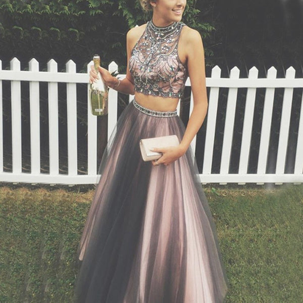 Two Piece Grey Prom Dress - High Neck Sleeveless Floor Length with Beading - Solodresses