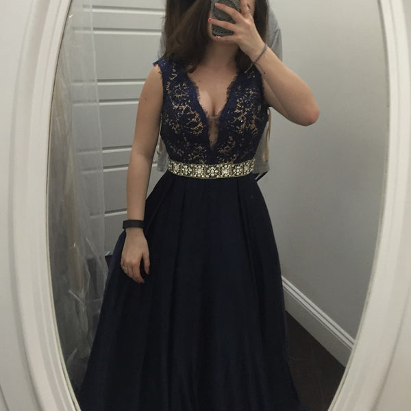 Stunning Navy Blue Prom Dress - V Neck Sleeveless Long with Lace Beaded - Solodresses