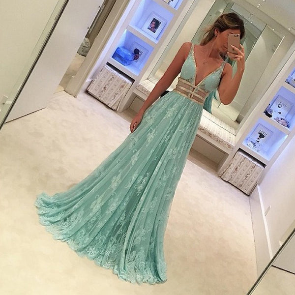 Fabulous Mint Green Prom Dress - Deep V Neck Sleeveless Floor Length Lace with Beading - Solodresses