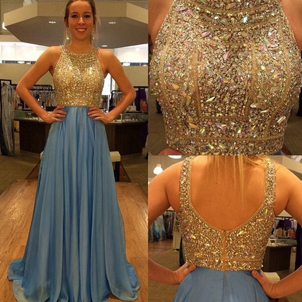 Chic A Line Prom Dress - Jewel Sleeveless Long Pleated with Beading - Solodresses