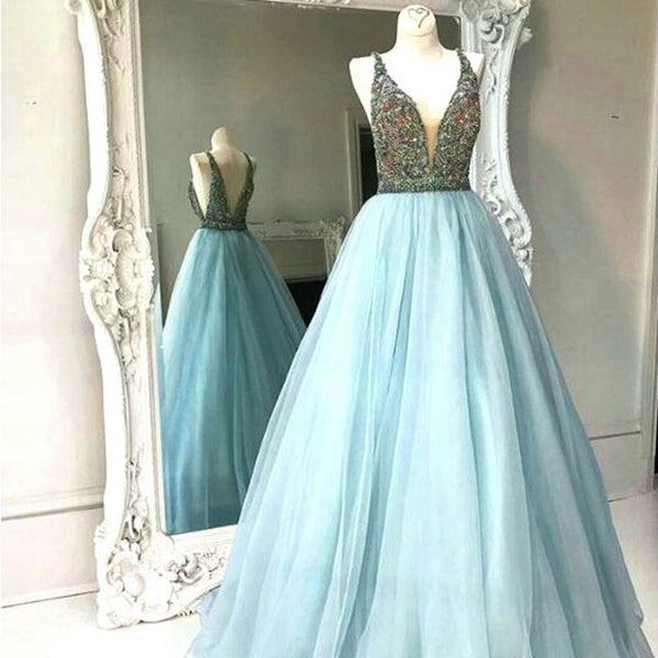 Modern A Line Prom Dress - V Neck Sleeveless Floor Length Backless with Beading - Solodresses