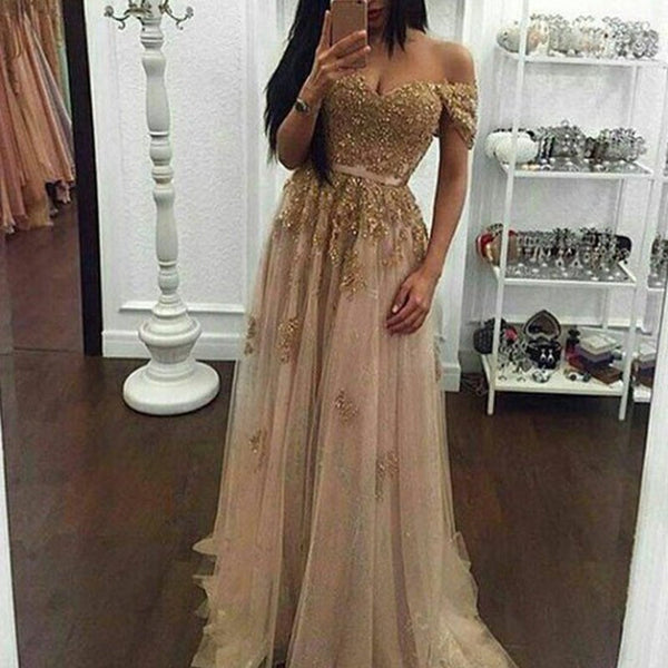 Modern Pearl Pink Prom Dress - Off Shoulder Short Sleeves Beaded Appliques with Sash - Solodresses