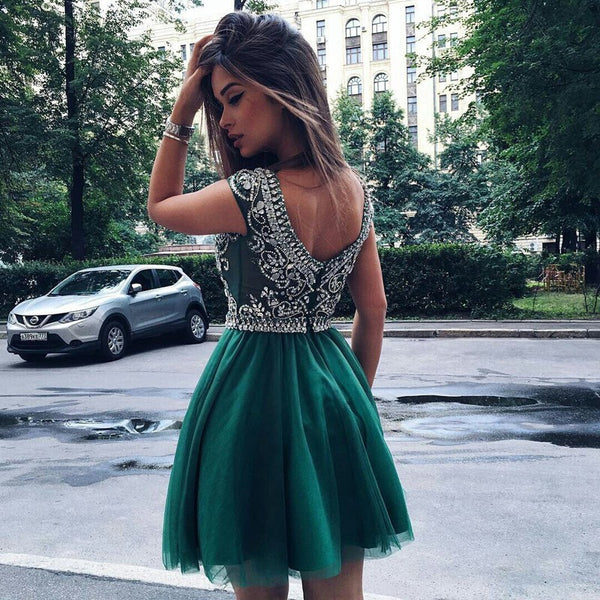 Chic Turquoise / Hunter Homecoming Prom Dress - Short Scoop Cap Sleeves with Beading - Solodresses