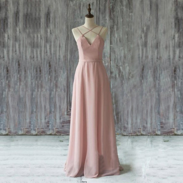 Chic Pink Prom Dress - Floor Length V Neck Sleeveless Criss-Cross Straps - Solodresses