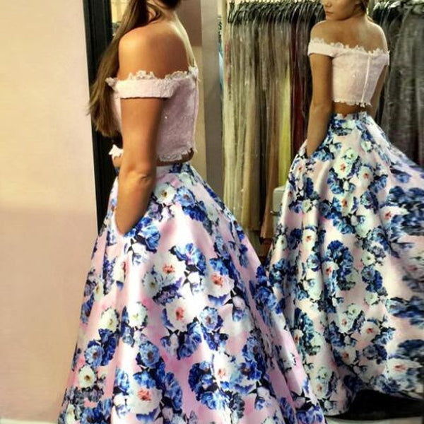 Glamorous Pink Floral Prom Dress - Off the Shoulder Floor Length with Lace Beading - Solodresses